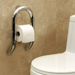 Invisia Wall Toilet Roll Holder with Integrated Support Rail