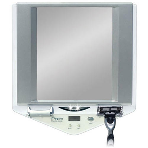 Zadro Fogless Lighted Shower Suction Cup Mirror With Clock