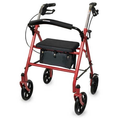 McKesson Durable 4-Wheel Rollator with Fold Up Removable Back