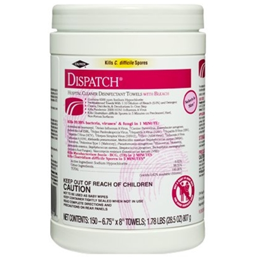 Dispatch Hospital Cleaner Disinfectant Towels with Bleach