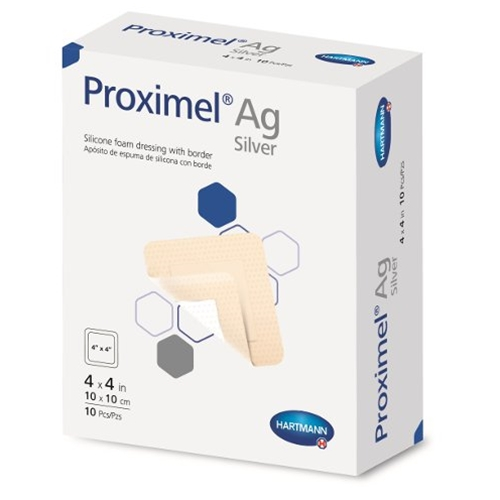 Proximel Ag Silicone Foam Dressing with Border