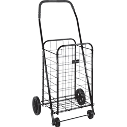 Black Metal Folding Grocery Shopping Cart with Wheels