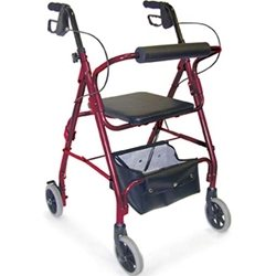 Ultra Lightweight Aluminum Rollator with Adjustable Seat Height