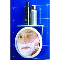 Zadro Fogless Suction Cup Shower Mirror with Shelf