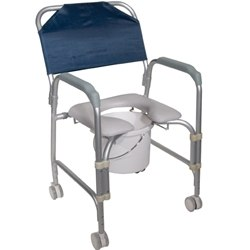 Drive Medical Portable Shower Chair Commode with Wheels