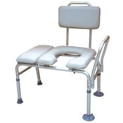 Drive Medical Padded Seat Transfer Bench with Commode