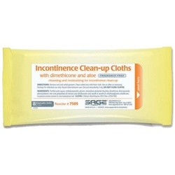 Sage Incontinence Clean-up Cloths  with Dimethicone and Aloe